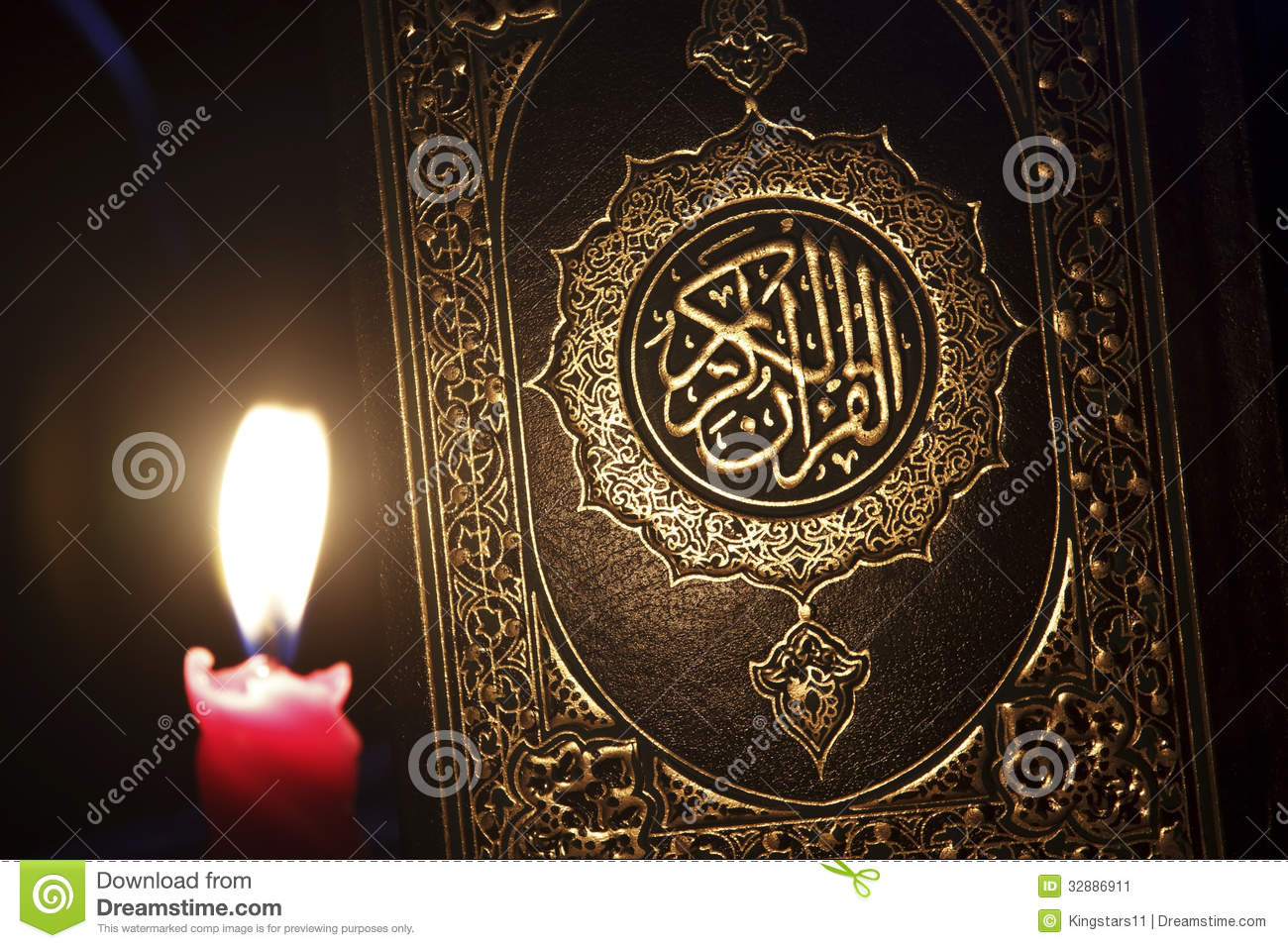 Al-Quran with candle light,Islam book alquran with candle light.