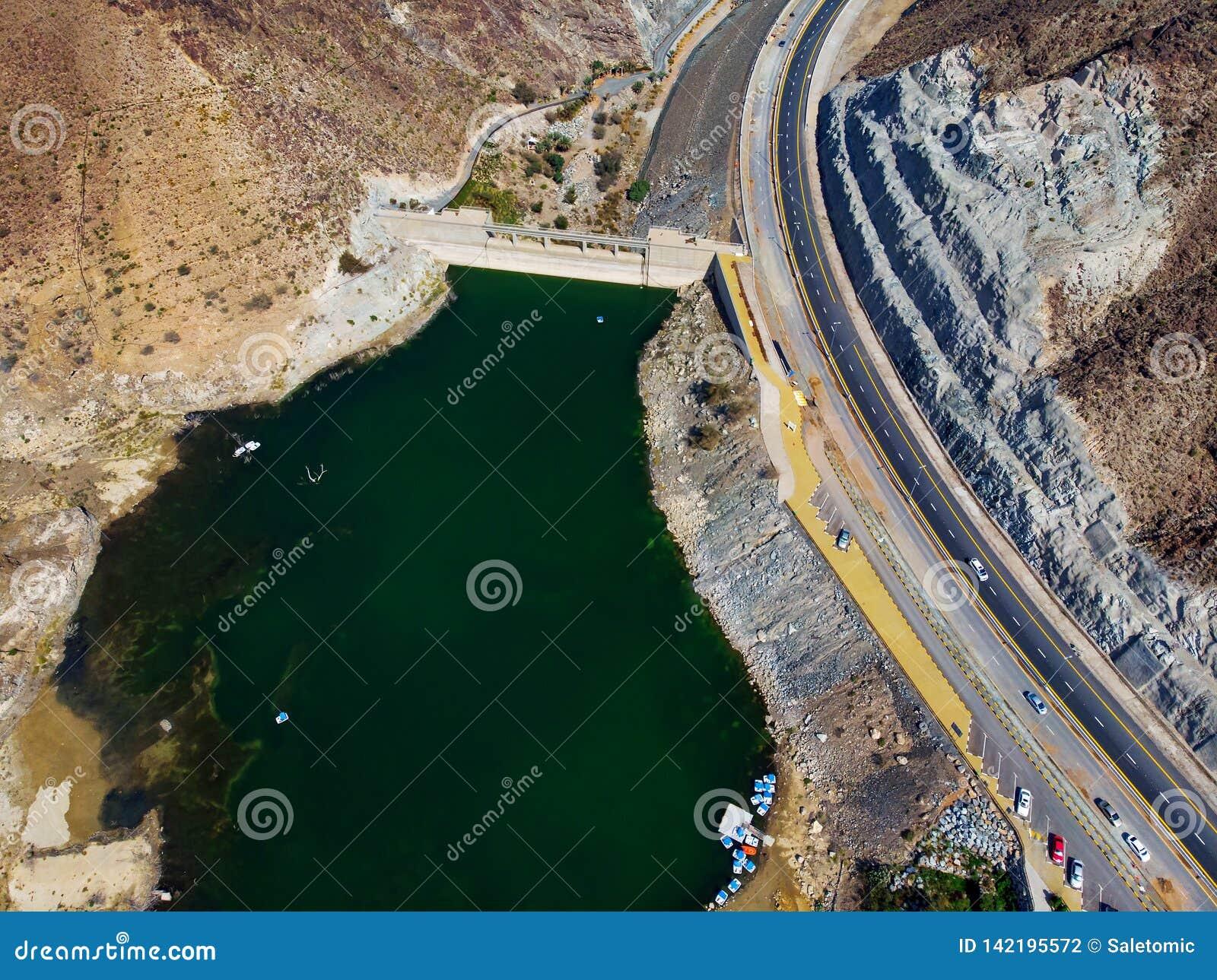 Al Rafisah Dam in Khor Fakkan in de Verenigde Arabische Emiraten