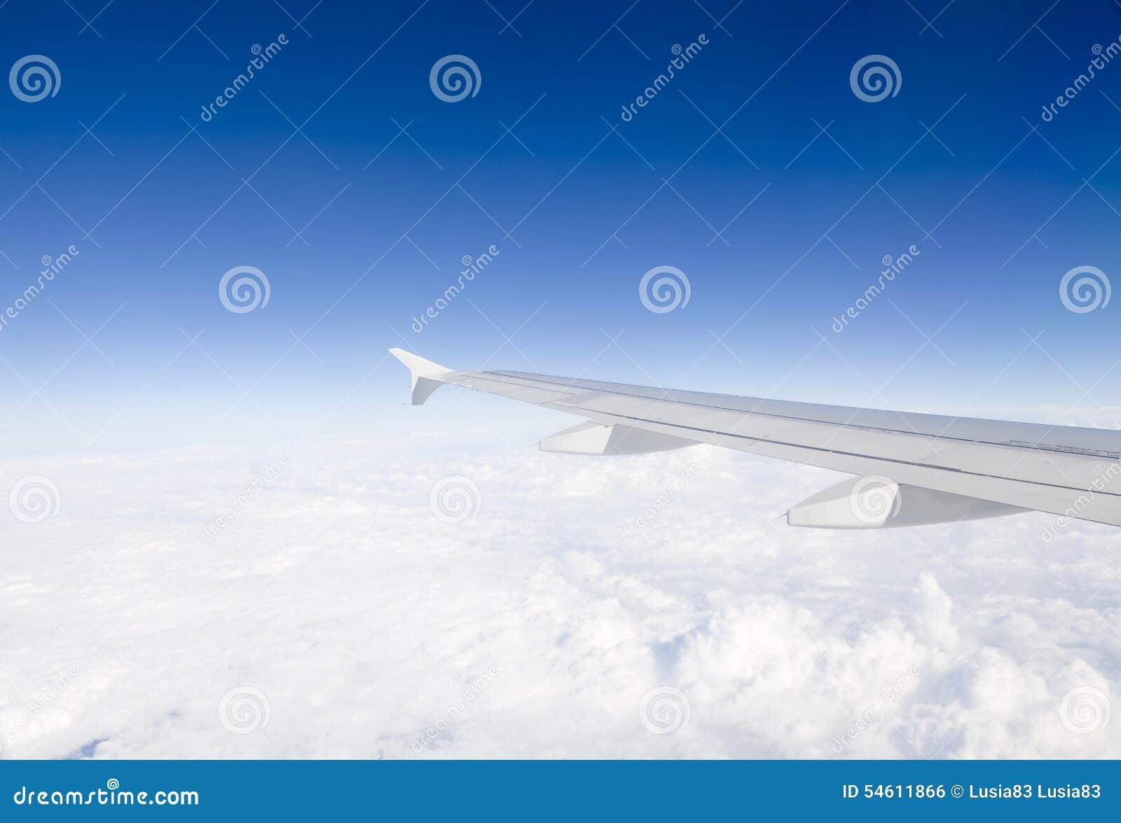 Ala dell aeroplano in volo, guardando attraverso la finestra