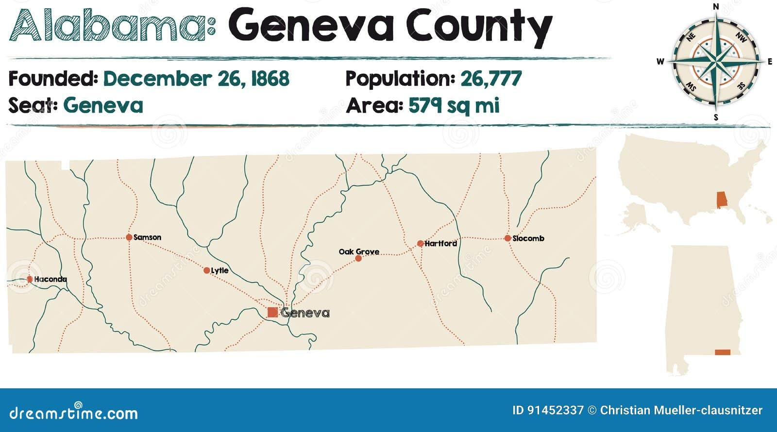 Alabama: Geneva county map stock vector. Illustration of ...