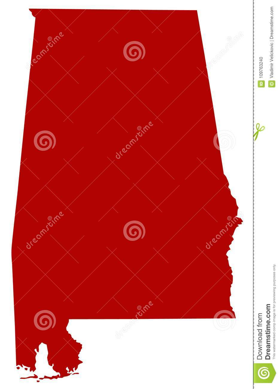 Alabama Map - State Of The United States Stock Vector ...