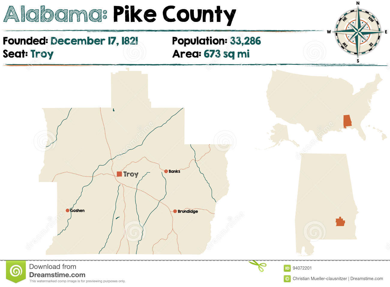 Alabama: Pike county map stock vector  Illustration of