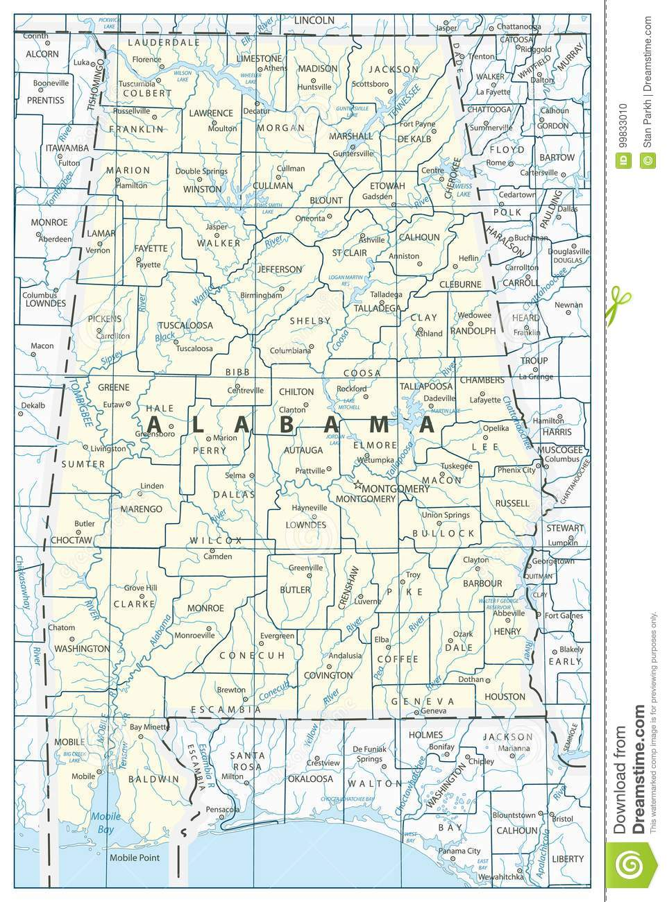 Alabama State Map stock vector. Illustration of outline - 99833010