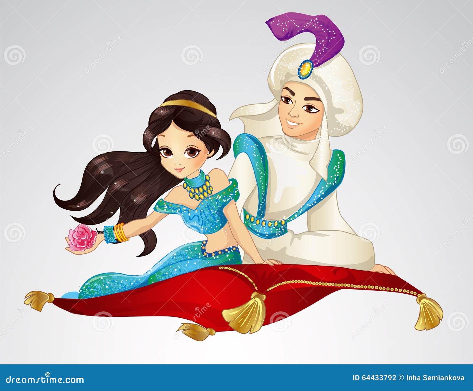 Aladdin I Princess Na Latającym Dywanie Ilustracja Wektor