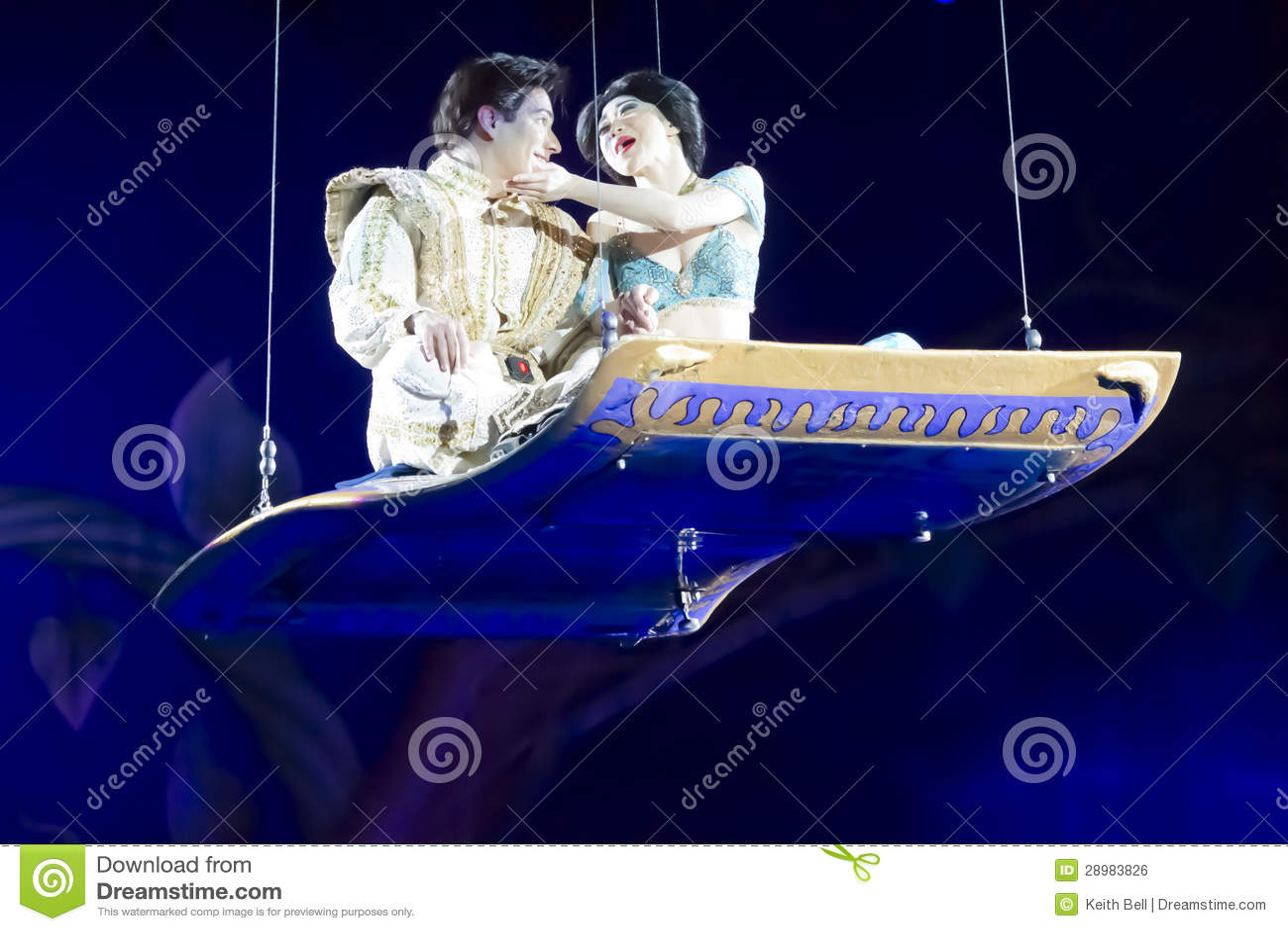 Aladdin And Jasmine On The Magic Carpet Embrace Editorial ...