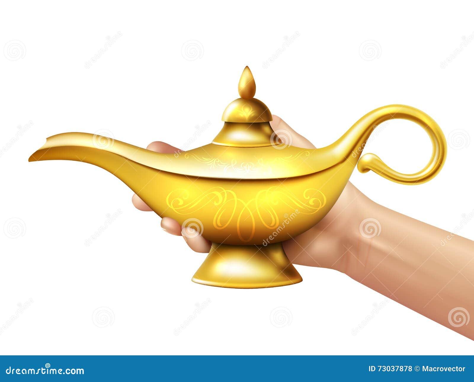 Aladdin Lamp And Hand Illustration Stock Vector ...