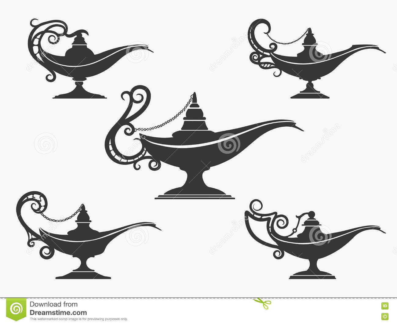 aladdin lamp icon set cartoon vector