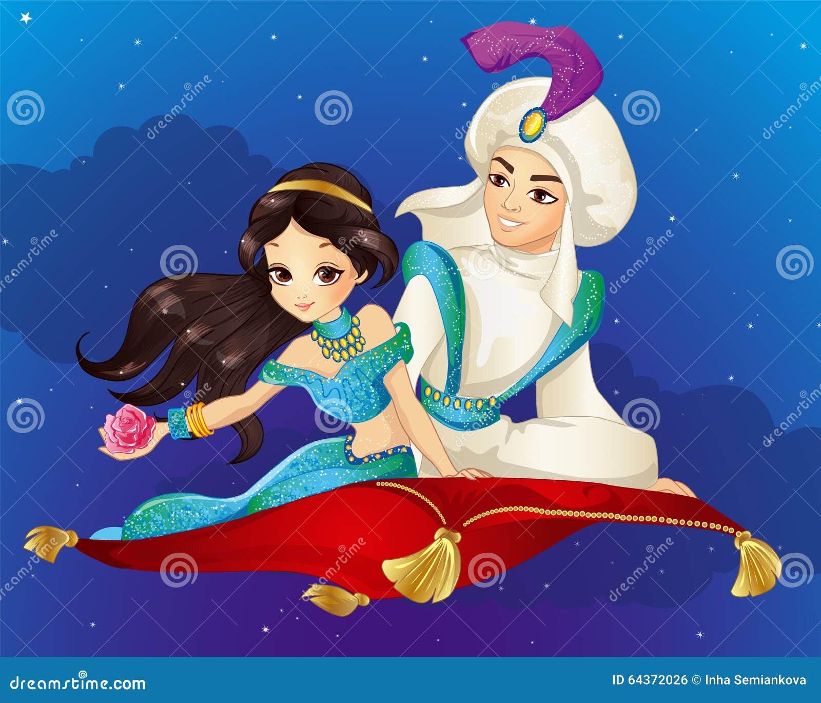 Aladdin Na Latającym Dywanie Przy Nocą Ilustracja Wektor