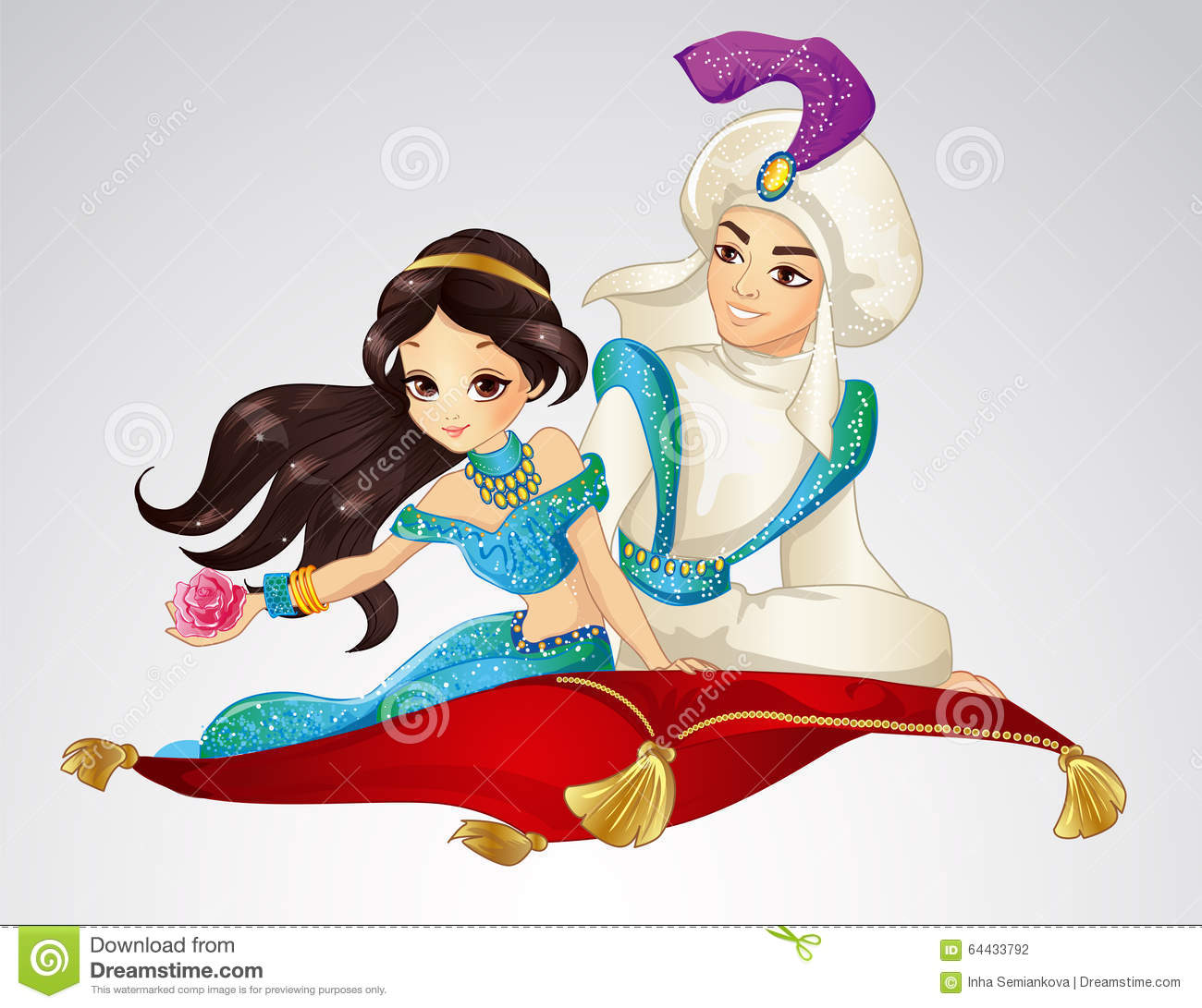 Aladdin and princess on flying carpet stock vector image for Aladdin carpet vector