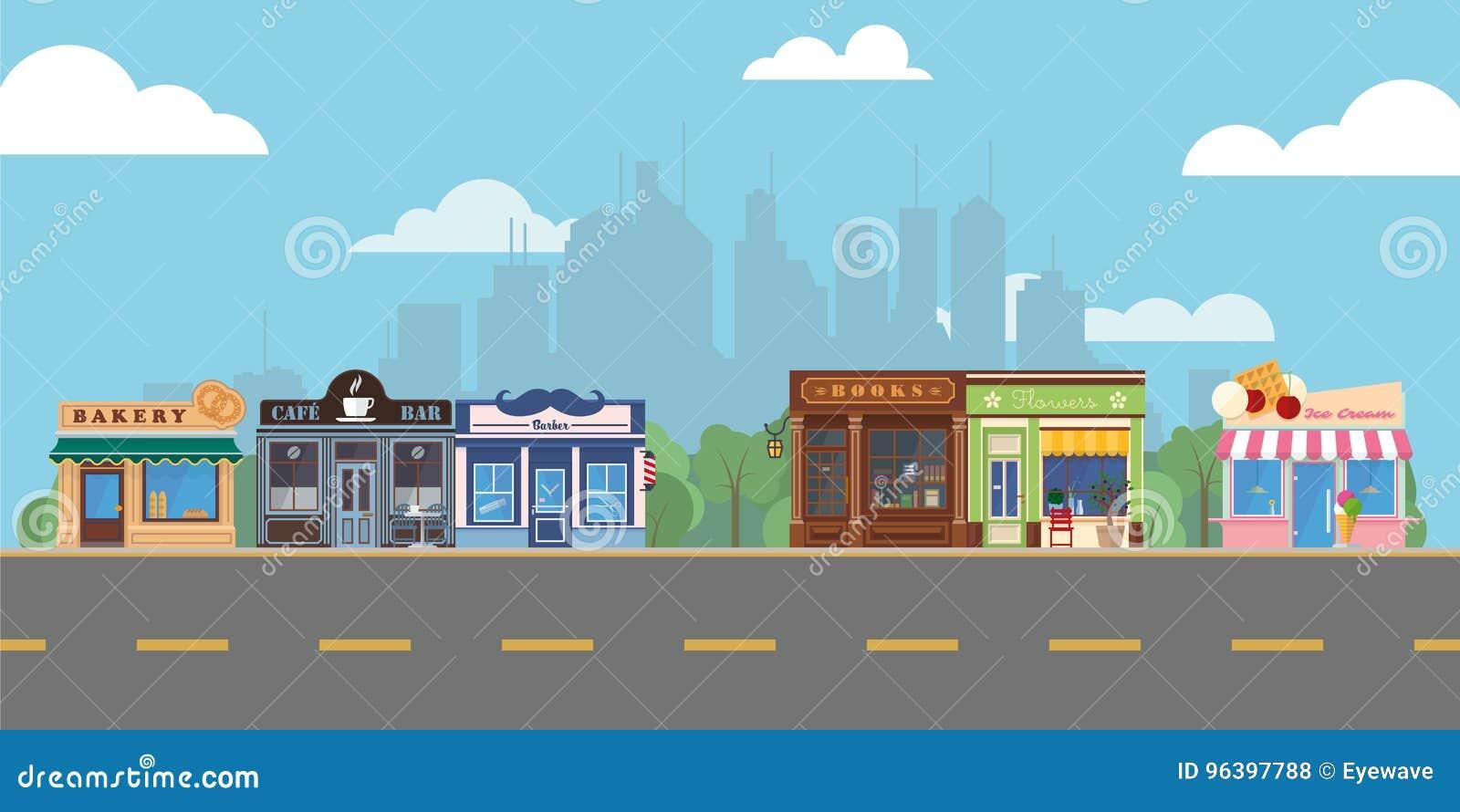 Alameda de compras suburbana de la calle principal del pueblo