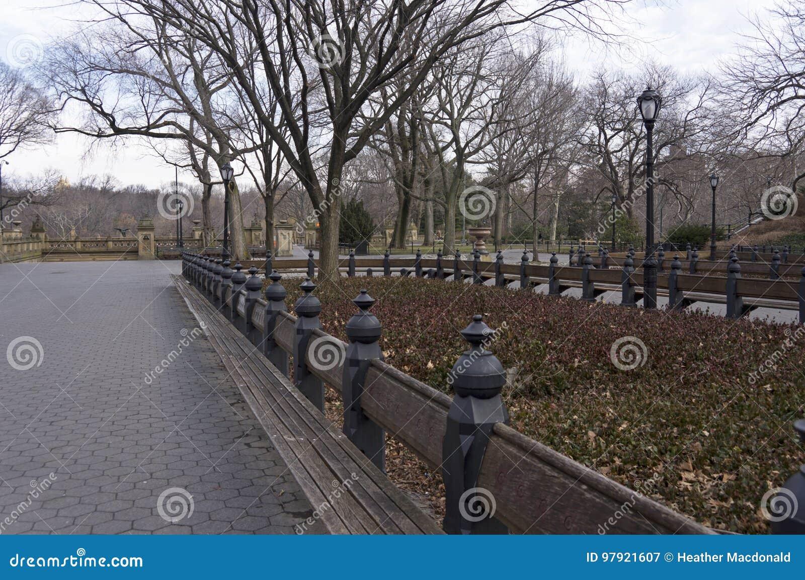 A alameda no Central Park do ` s de New York City que olha norte para Bethesda Terrace