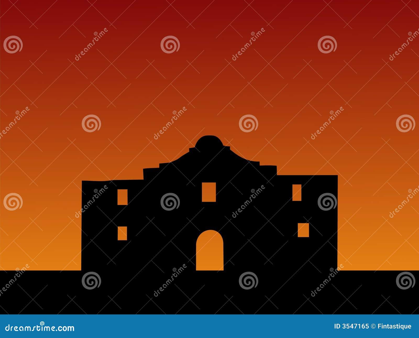 Alamo au coucher du soleil