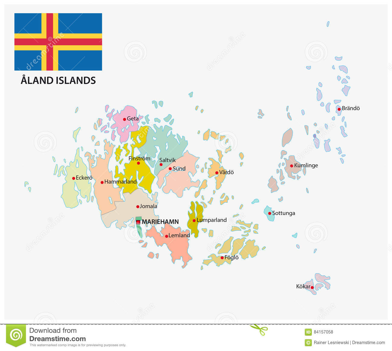 Aland Islands Administrative And Political Map With Flag Stock - Aland islands political map