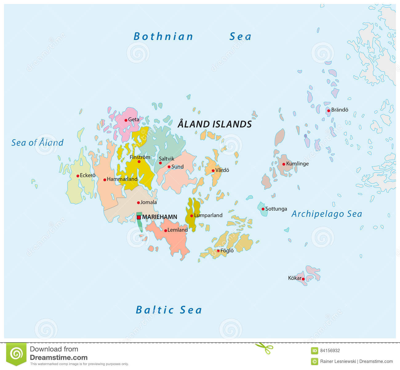 Aland Islands Administrative And Political Map Stock Vector - Aland islands political map
