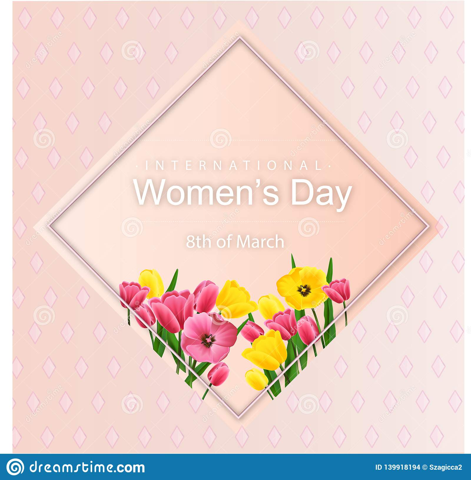 Abstract Floral Greeting card with tulips - International Women s Day - 8 March holiday background with paper cut Frame Flowers.