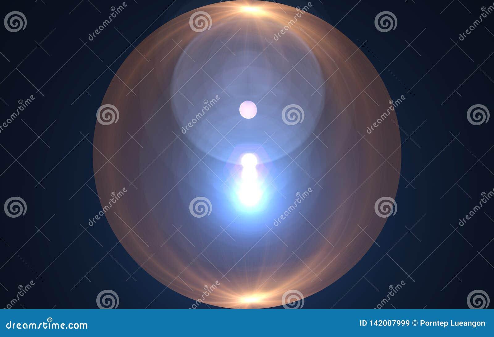 Alargamento da luz da esfera Explosão abstrata do sol com fundo digital do alargamento da lente Efeito branco do alargamento no v