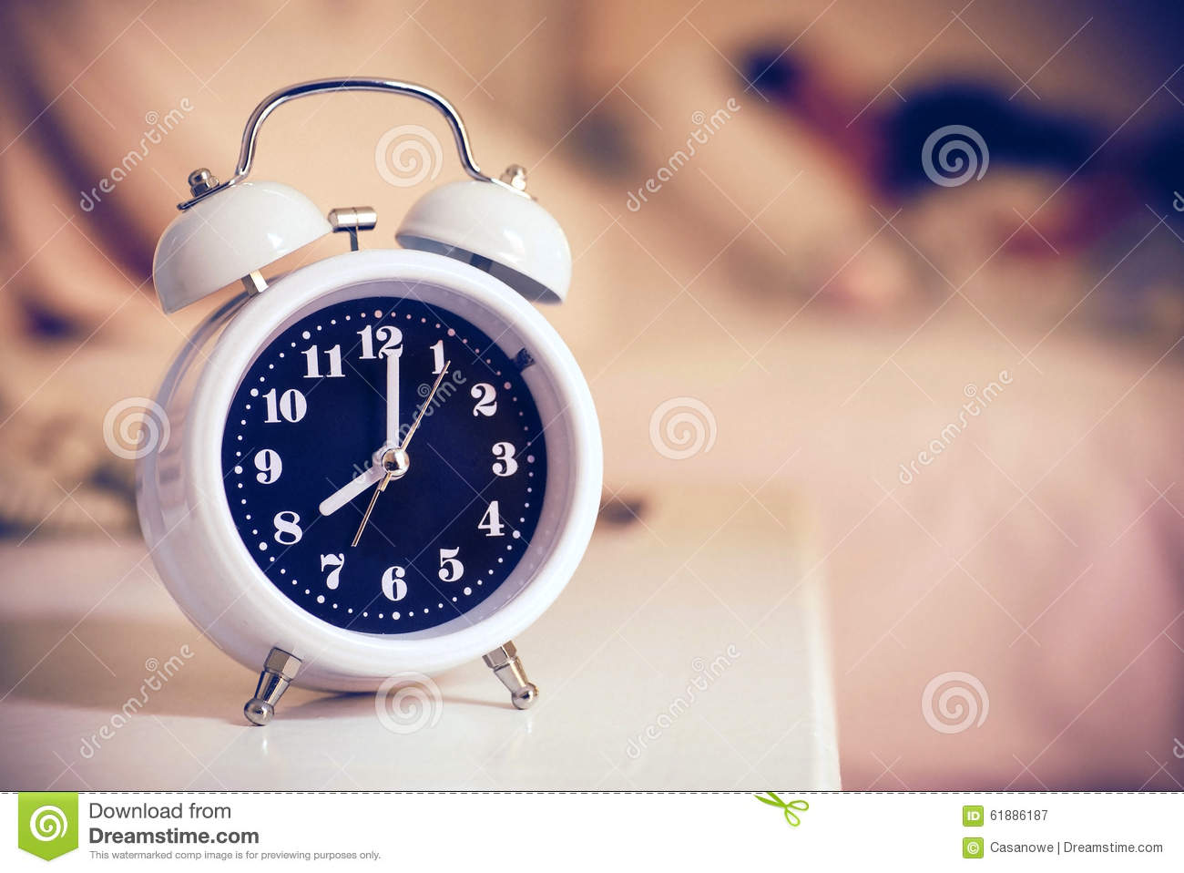 alarm clock on the bed in bedroom retro style stock photo 10273 | alarm clock bed bedroom retro style 61886187
