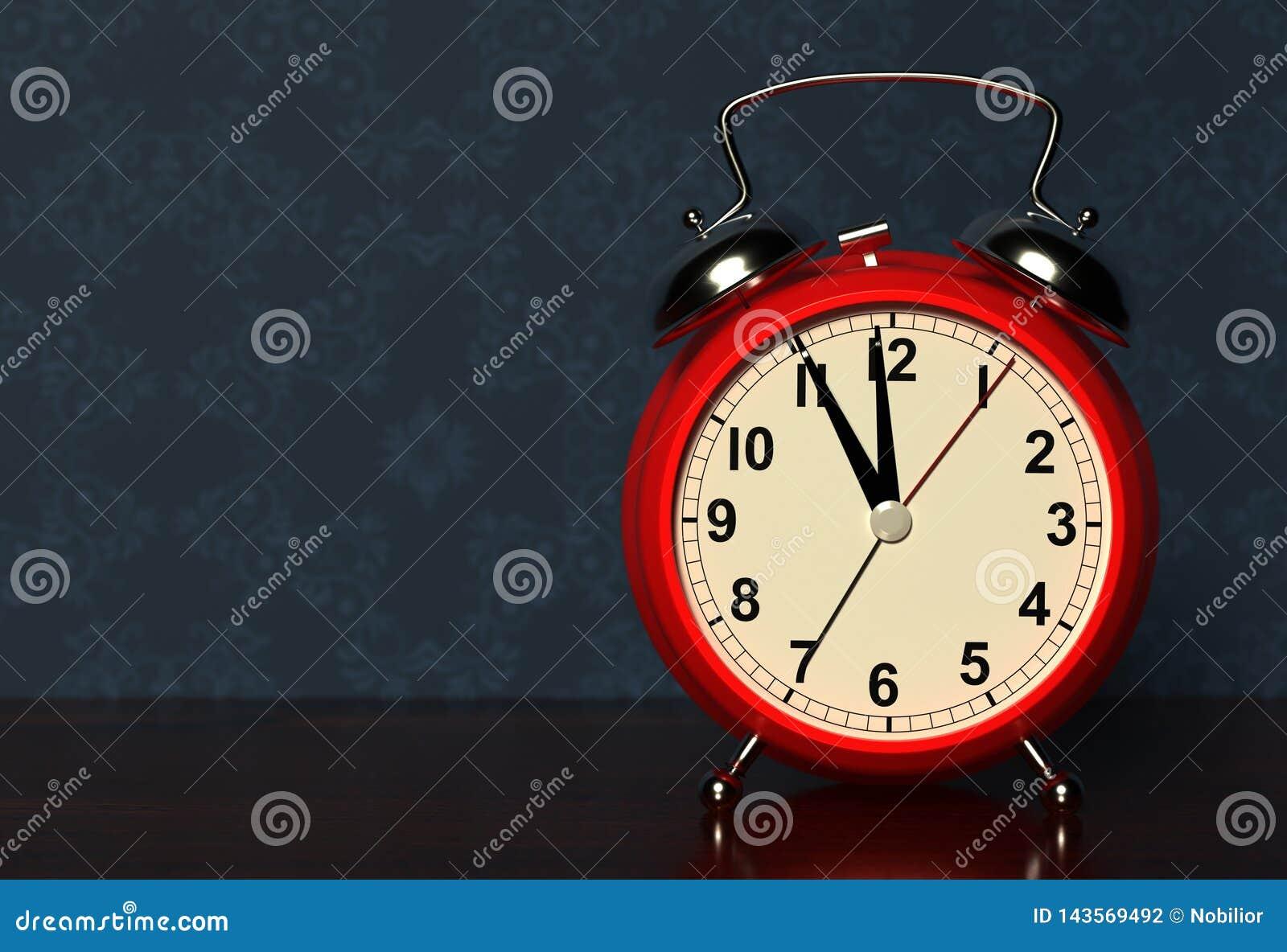 Alarm clock on bedside table. 3D