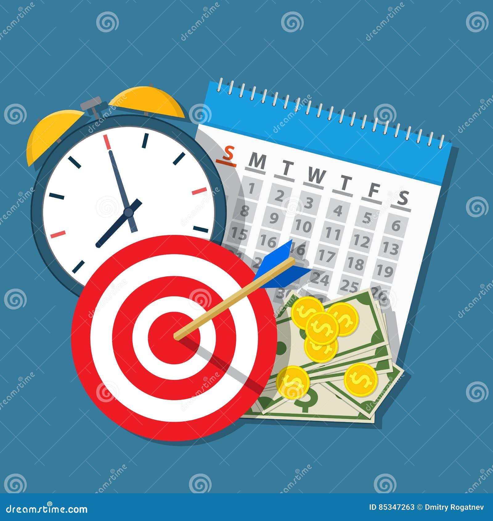Calendar Planner Target : Alarm clock calendar target money stock vector illustration of