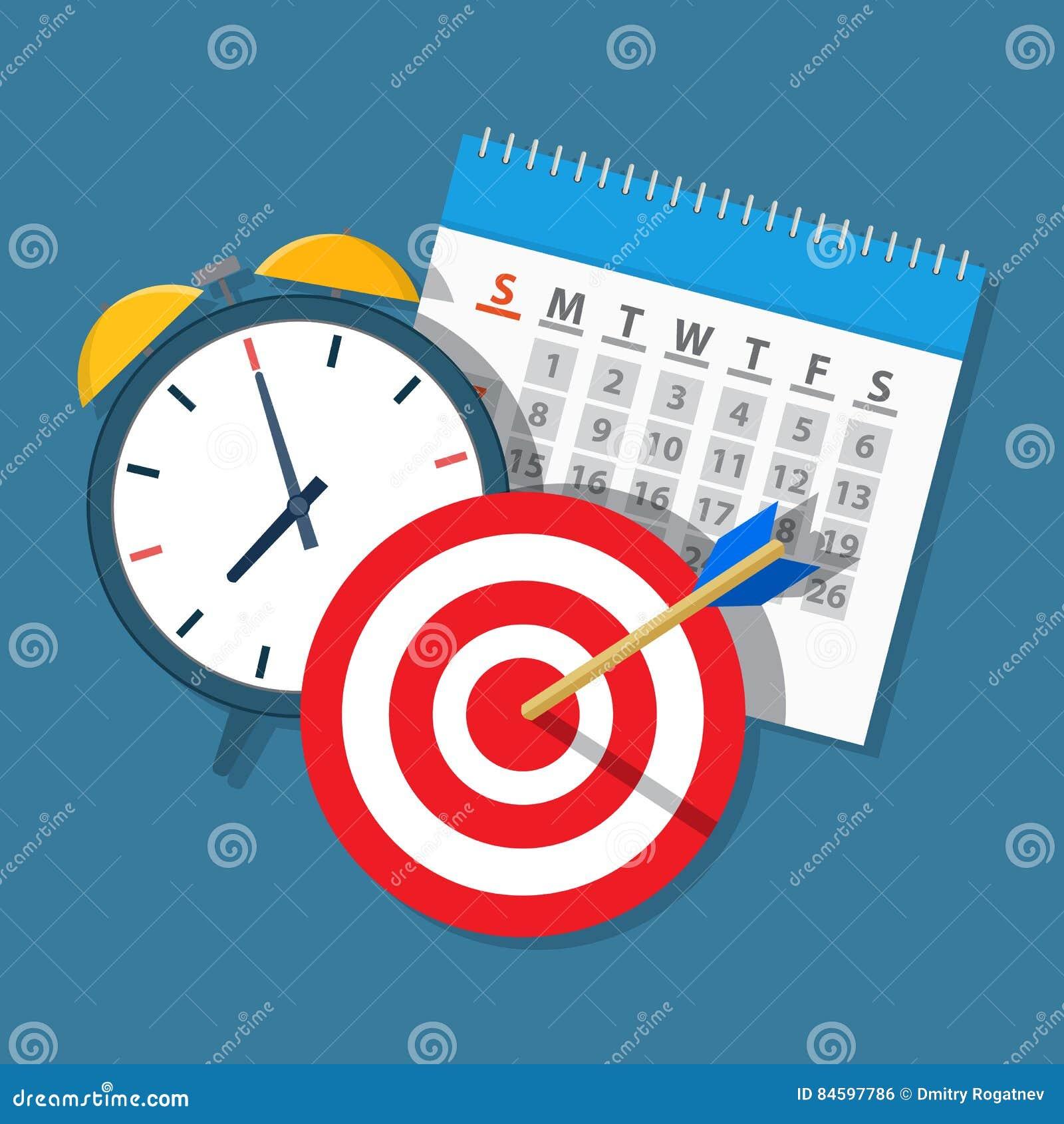 Calendar Planner Target : Alarm clock calendar target. stock vector illustration of