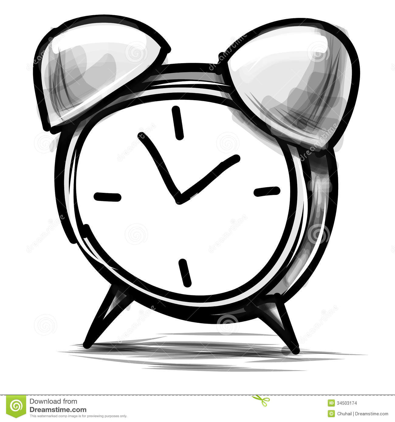 Alarm Clock Cartoon Sketch Vector Illustration Stock Images - Image ...