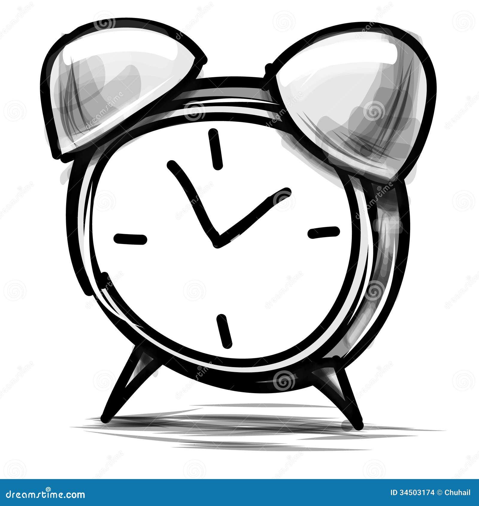 Alarm Clock Cartoon Sketch Vector Illustration Illustration 34503174