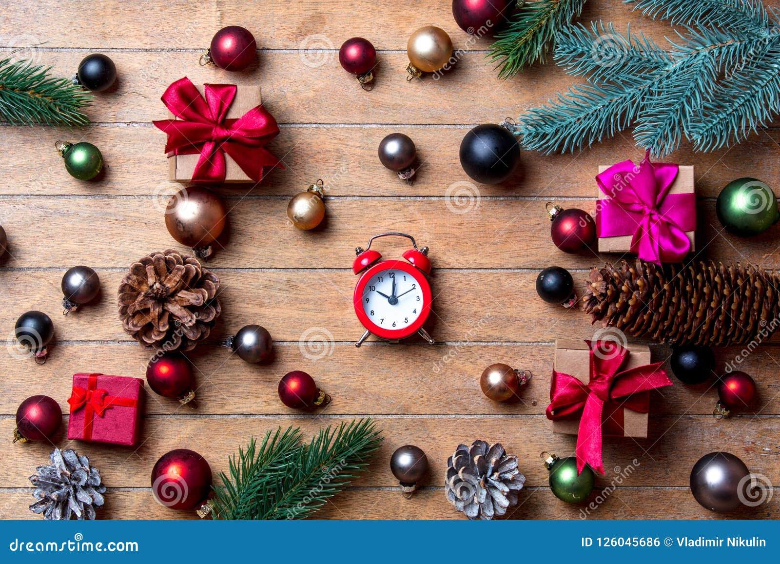 Alarm Clock With Christmas Decoration Stock Photo - Image ...