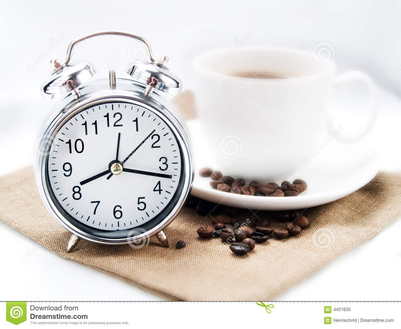 Alarm Clock And Coffee Cup Royalty Free Stock Photo - Image: 4401635