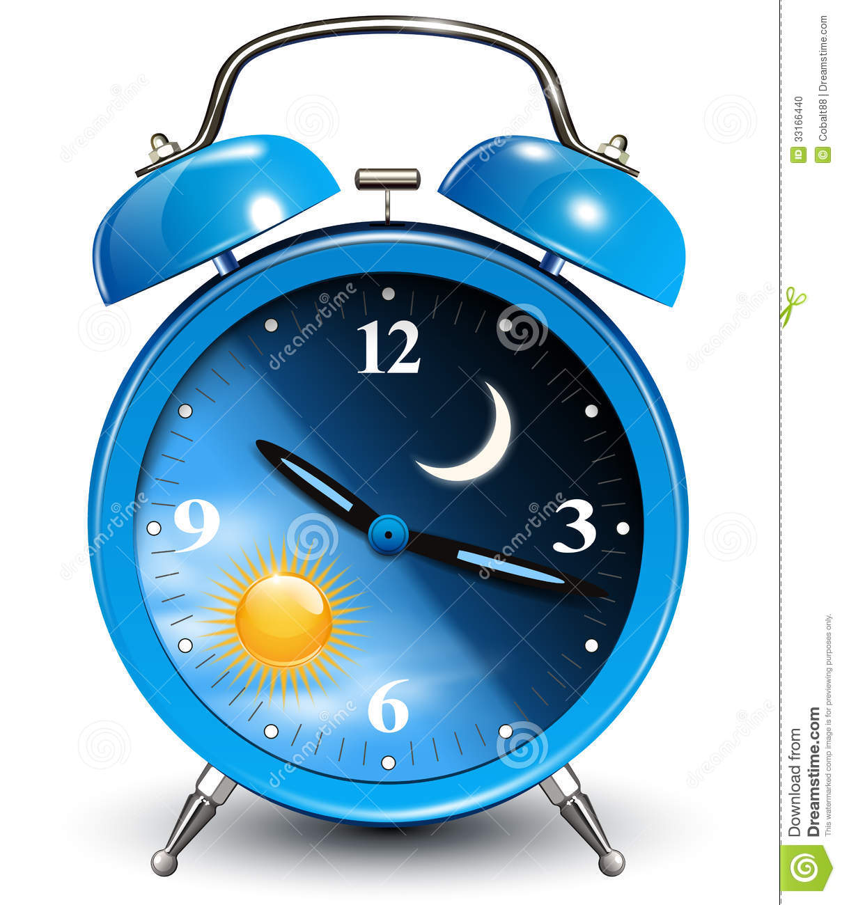 Alarm clock, day and night cycle, vector illustration.