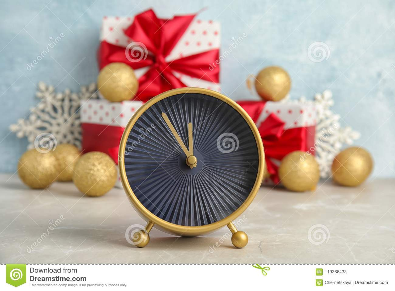download alarm clock gifts and decorations on table christmas countdown stock image image