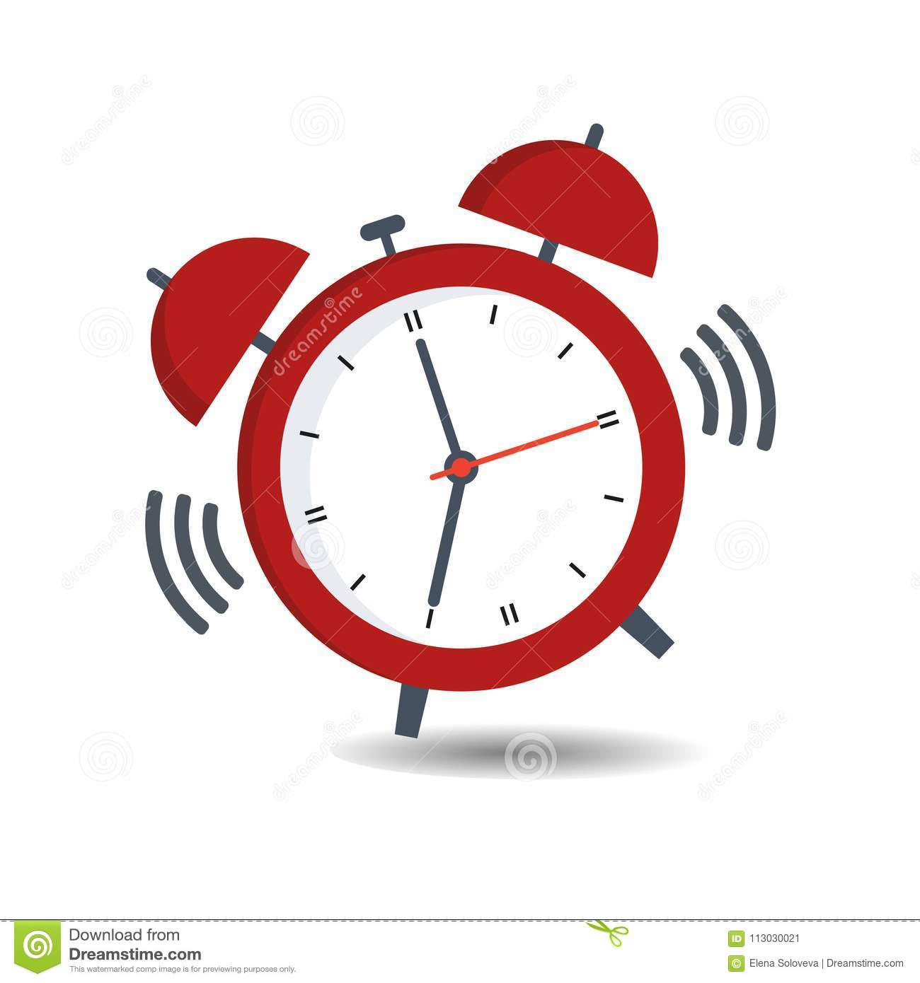 Alarm Clock Red Wake-up Time Isolated On Background In Flat Style