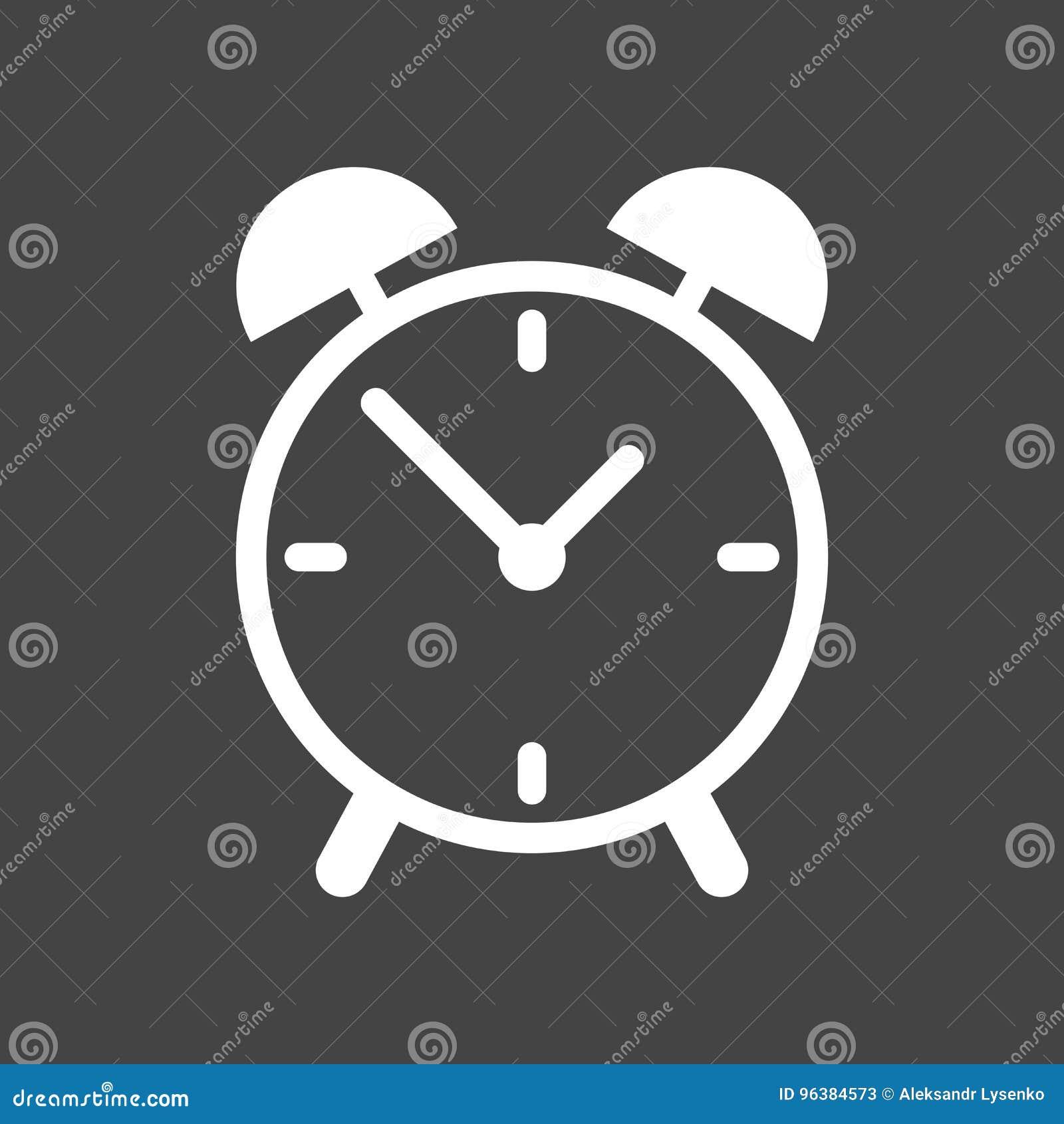 Alarm Clock Icon  Flat Design Style  Simple Icon On Grey Background