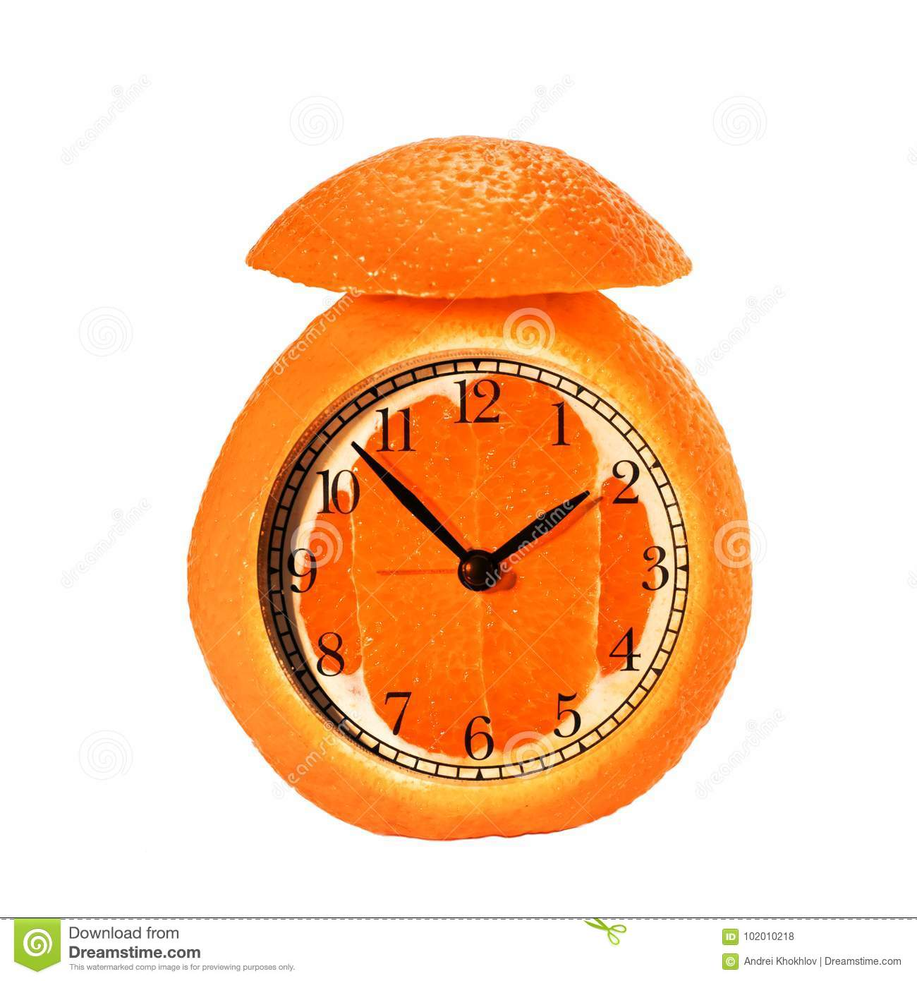 Alarm Clock Made Of Orange Fruit Stock Photo - Image of