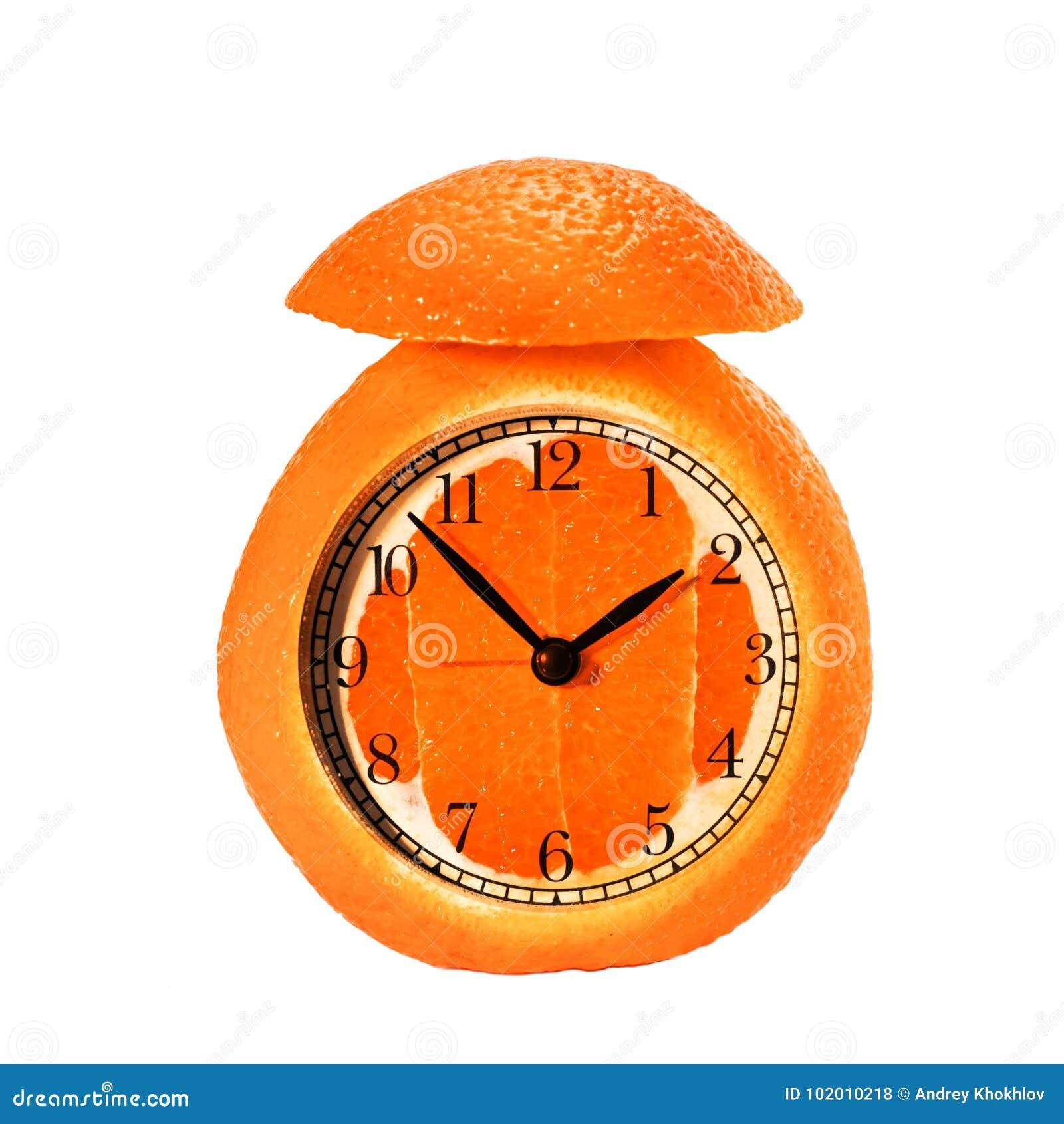 Alarm Clock Made Of Orange Fruit Stock Photo - Image of fruit, cross