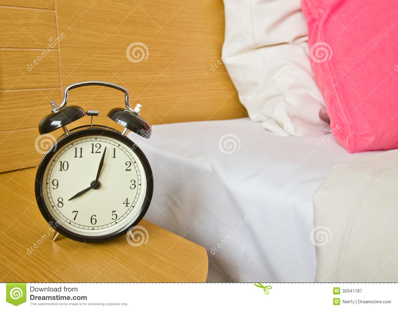 Alarm-clock In Morning Bedroom Royalty-Free Stock Photo ...
