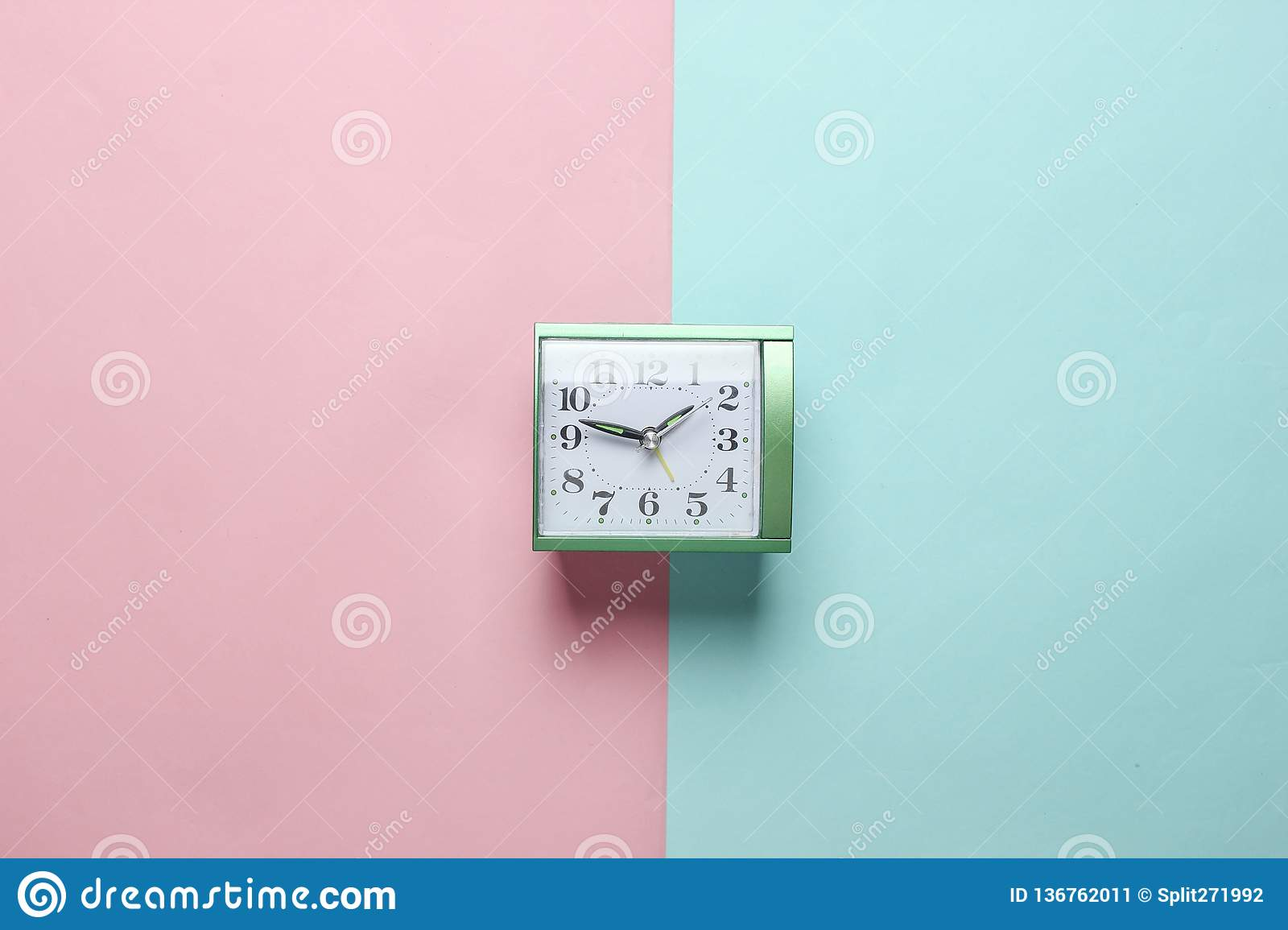 Alarm Clock On Pastel Color Paper Background Stock Image ...