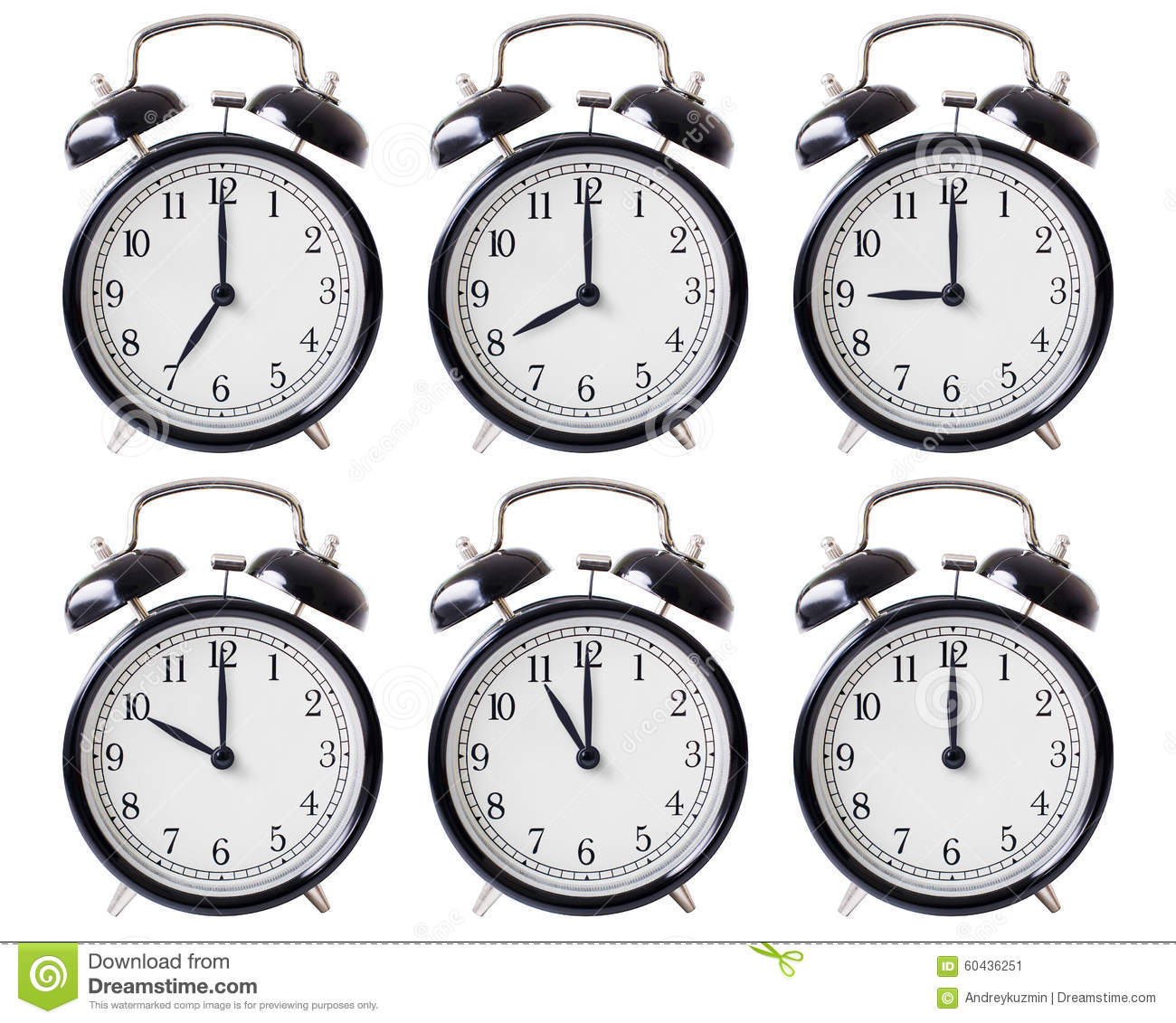 alarm clock set with hands from 7 to 12 o 39 clock stock image image of isolated minute 60436251. Black Bedroom Furniture Sets. Home Design Ideas