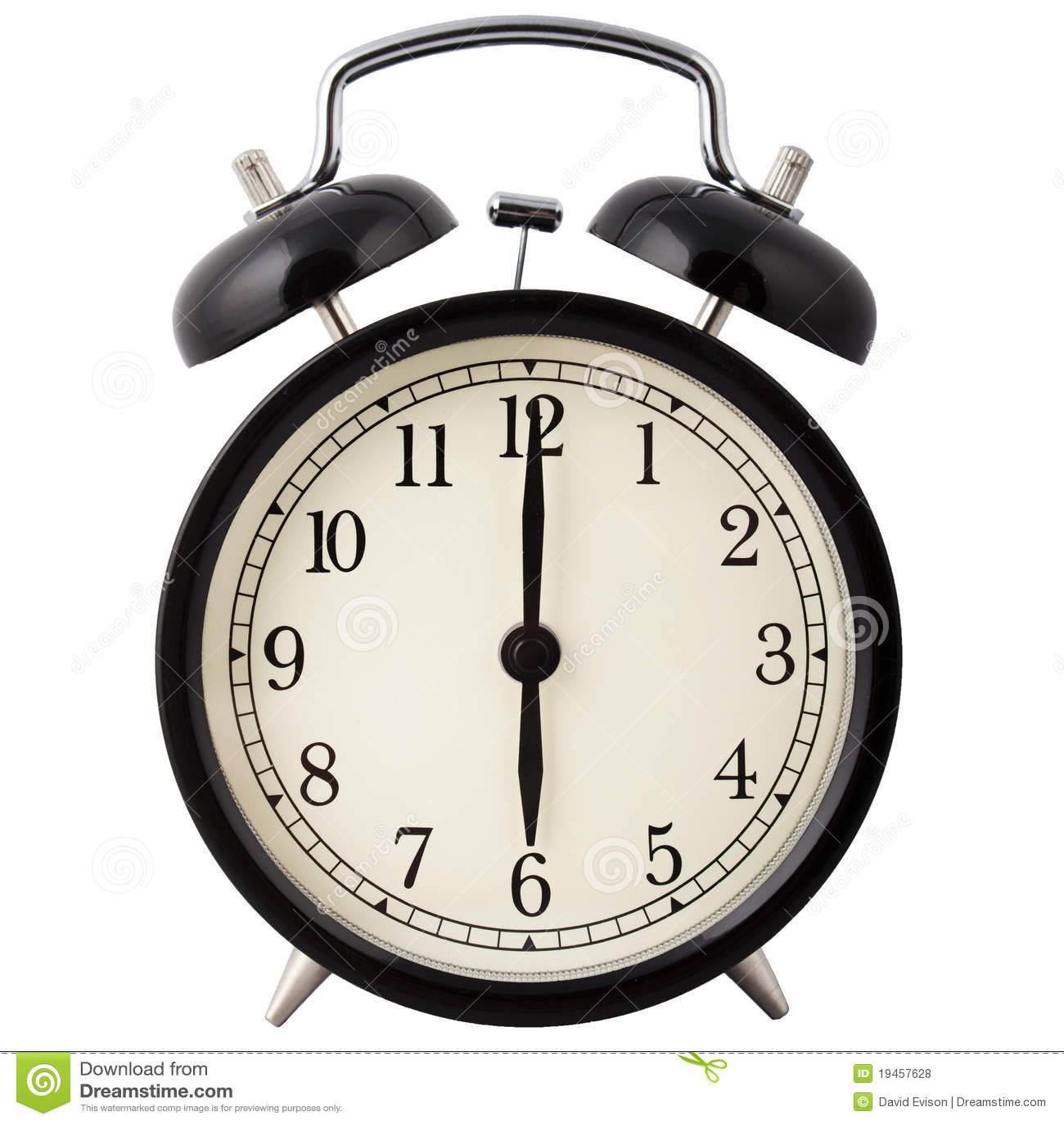 alarm clock showing six o 39 clock stock photo image of awake countdown 19457628. Black Bedroom Furniture Sets. Home Design Ideas