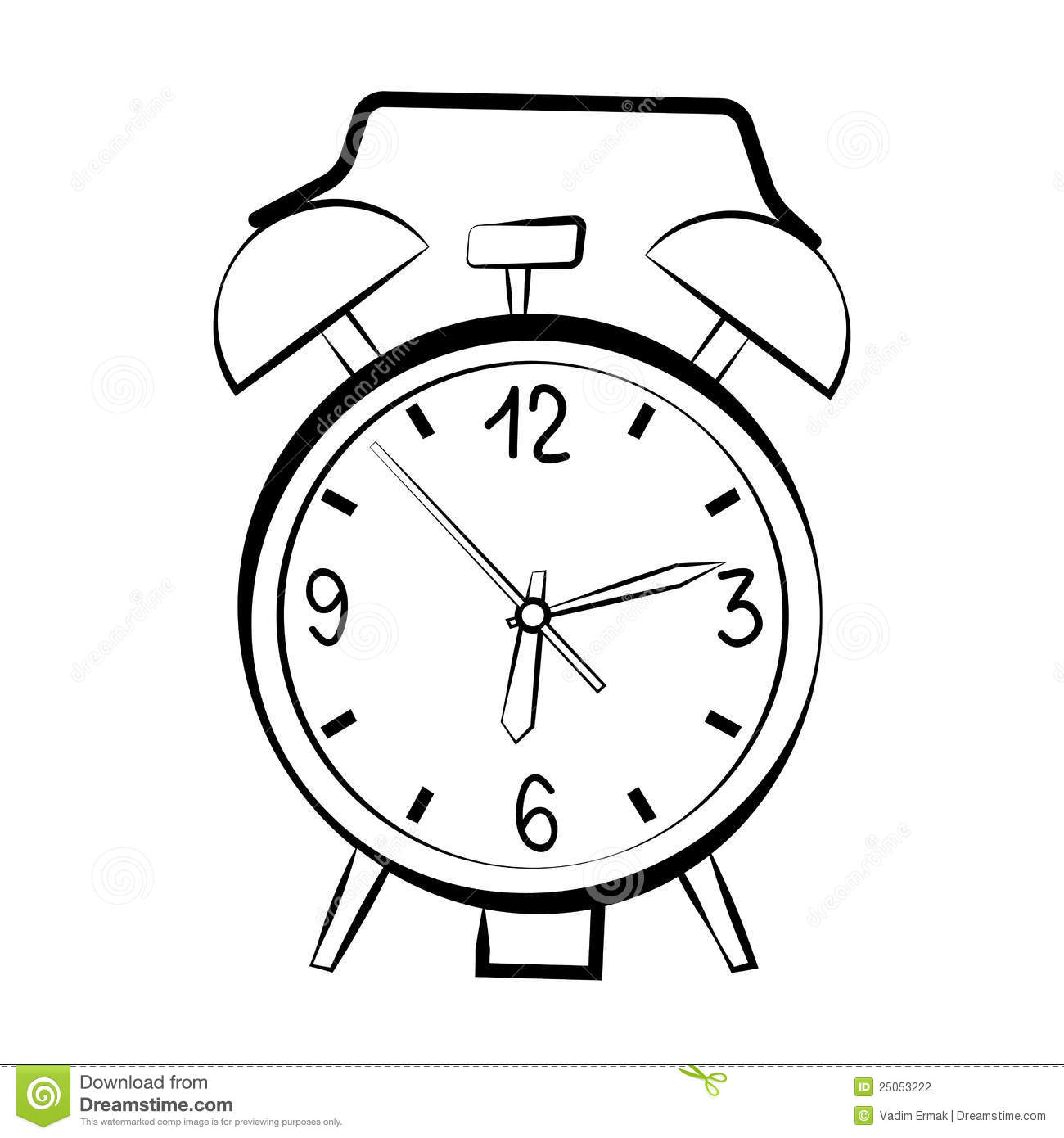 Alarm clock sketch stock vector  Illustration of second - 25053222