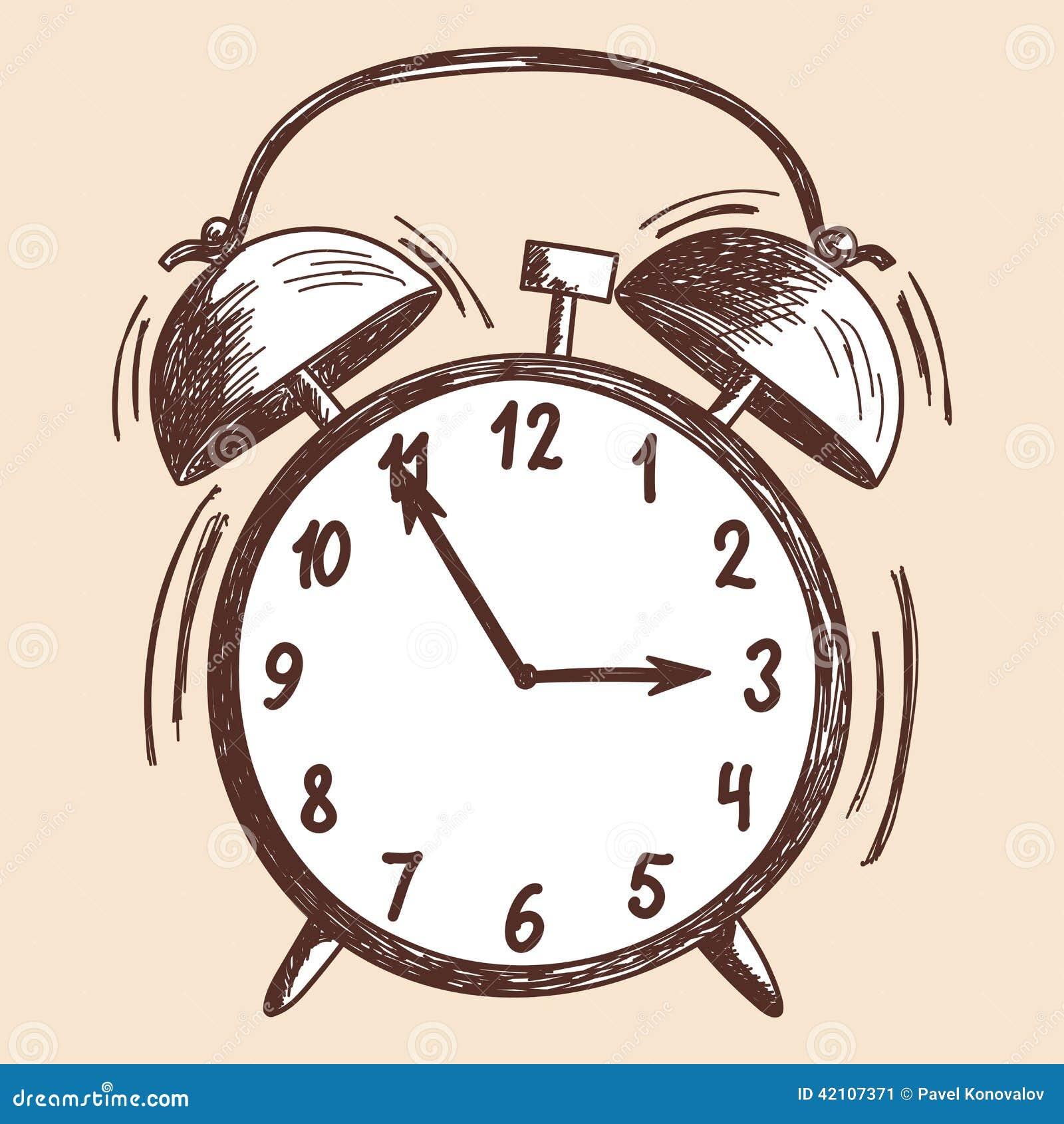 Alarm Clock Sketch Stock Vector Image 42107371