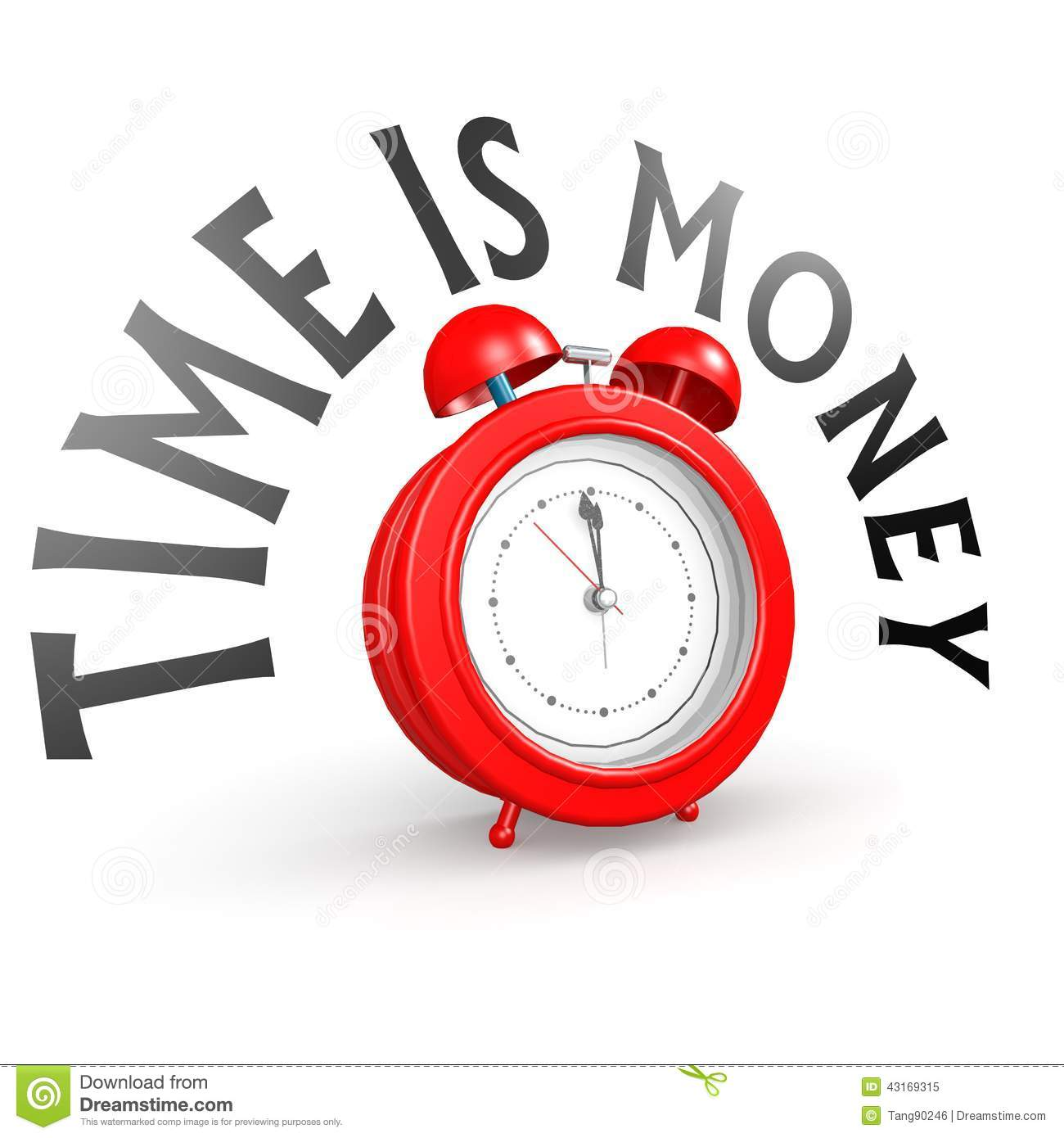 Alarm Clock With Time Is Money Stock Illustration