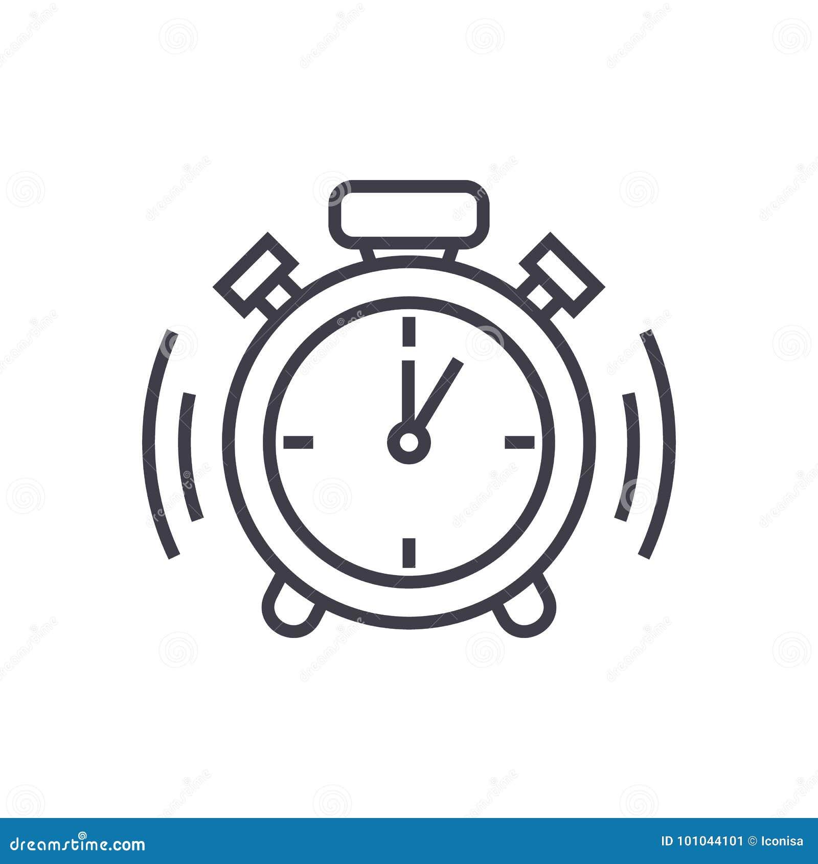 Alarm Clock Vector Line Icon, Sign, Illustration On