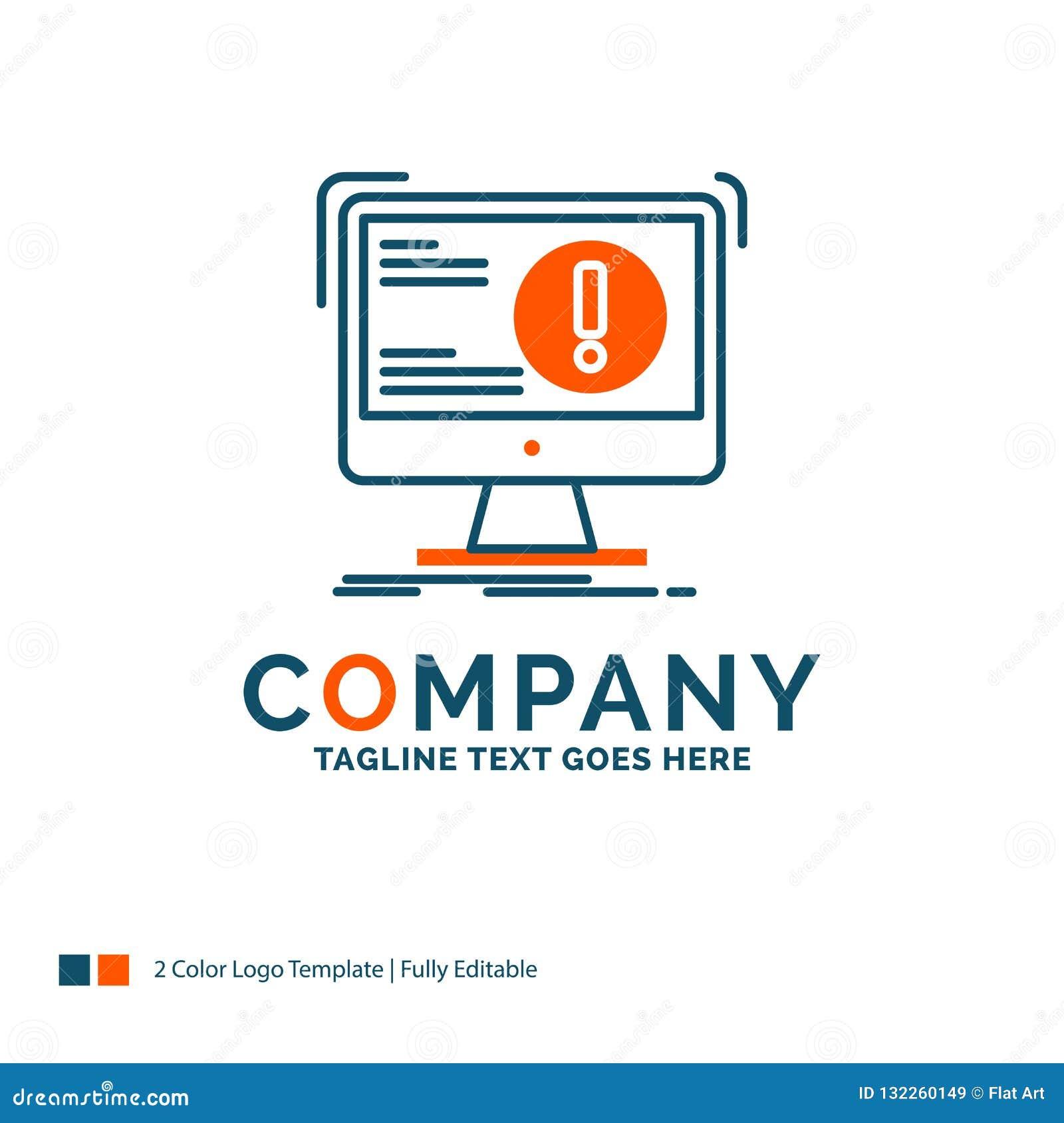21a251b72 Alarma, antivirus, ataque, ordenador, virus Logo Design Diseño azul y  anaranjado de la marca Lugar para el Tagline Plantilla del logotipo del  negocio