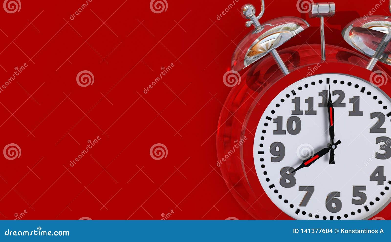 Alarma roja de las 8 del reloj retra - representación 3d