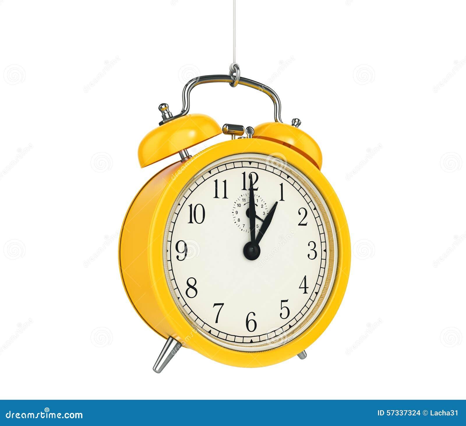 Alarme 3D d horloge blanc au moment de l exécution d isolement par concept de fond