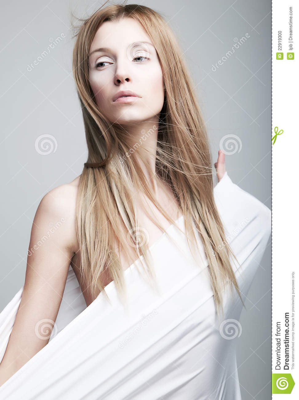 Alarmed Gentle Half Dressed Girl In White Clothes Stock Photo Image 22919300