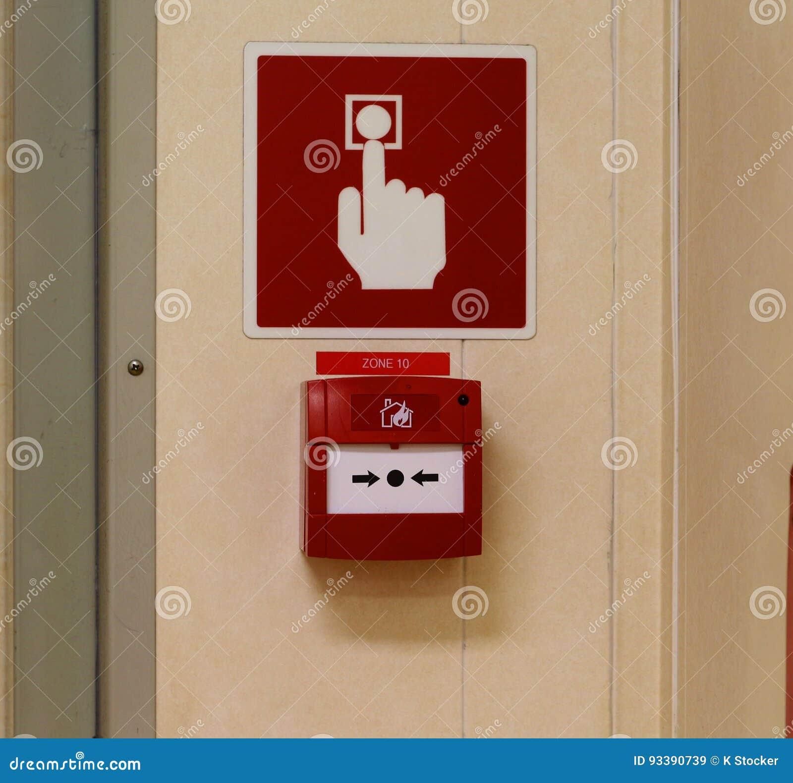 Alarmes de incêndio, teclas da emergência, sinal alertar todos