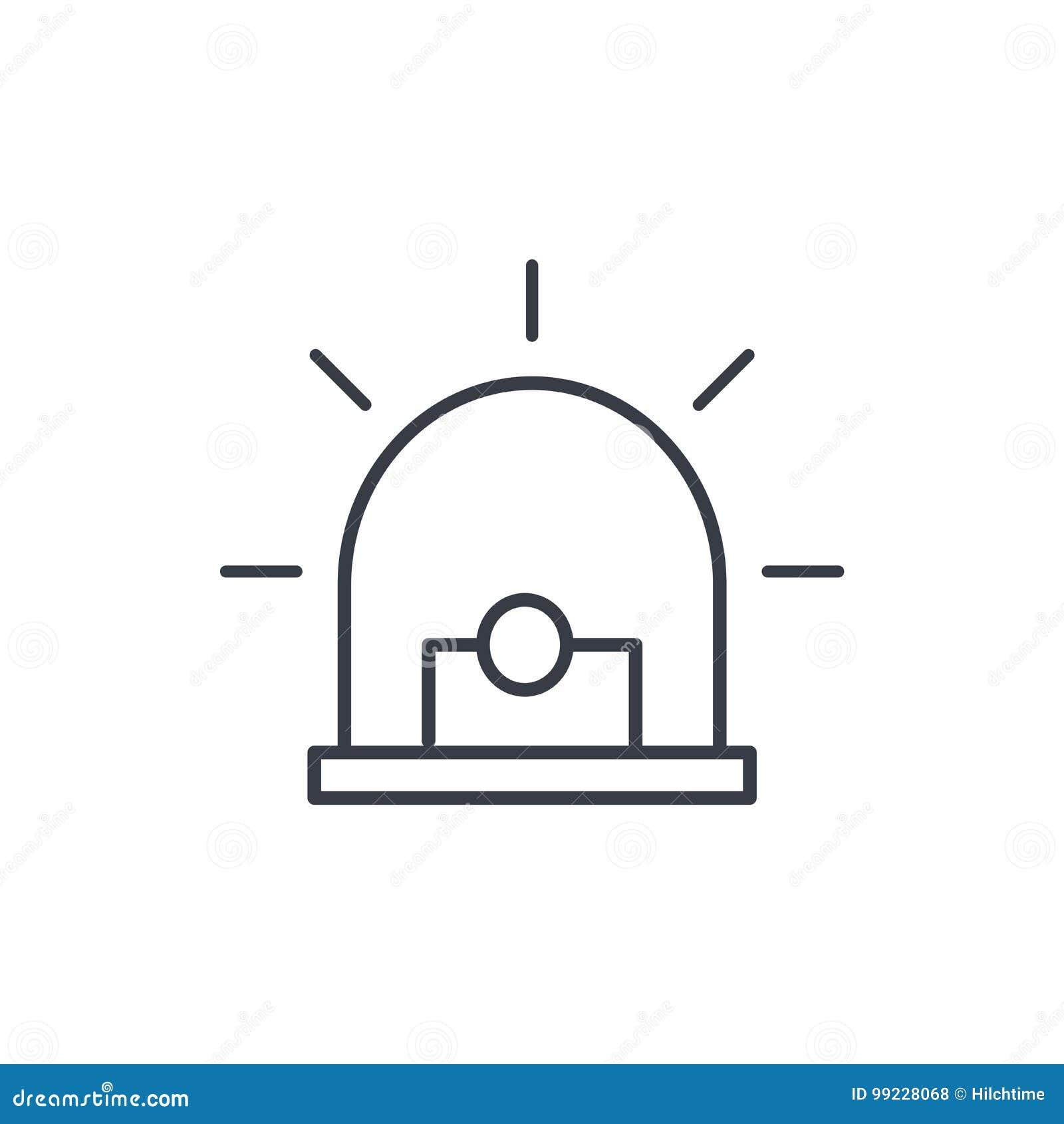 Alarmowy sygnał, ostrzeżenie, ostrzegawcza syreny linii ikona Liniowy wektorowy symbol