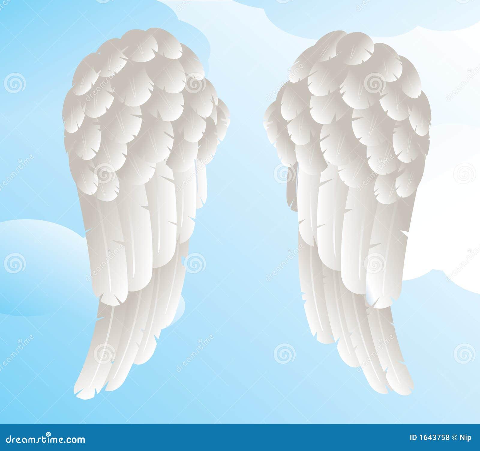 Alas Del ángel Con Un Fondo Del Cielo Ilustración Del Vector