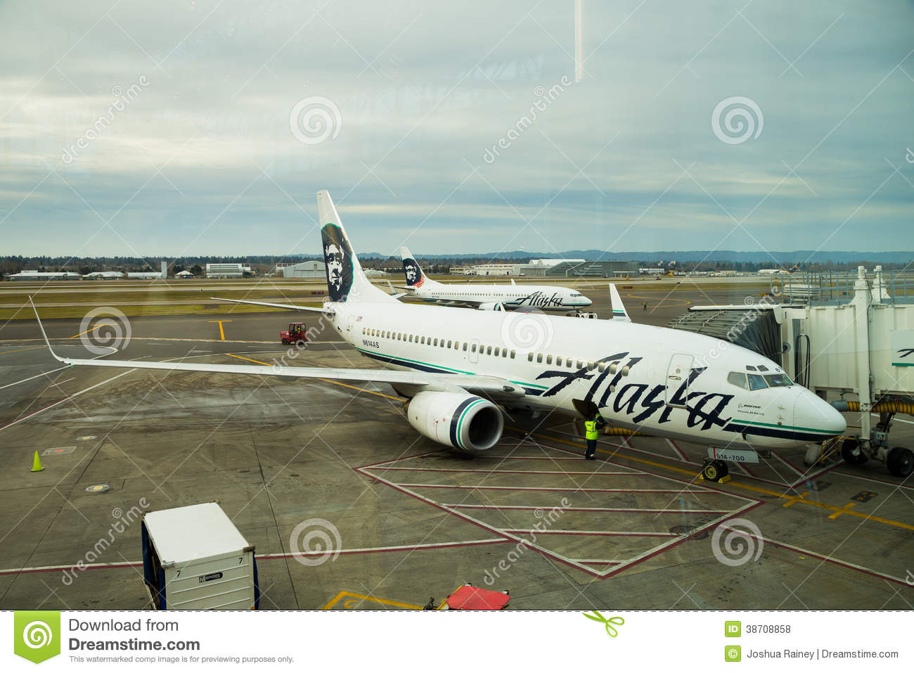Alaska Airlines Flight Boarding Editorial Stock Photo